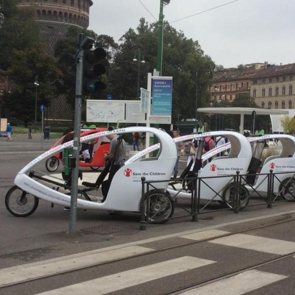 Save the Children Milano Veloleo Rickshaw risciò